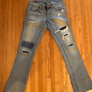 Distressed American eagle flared jeans